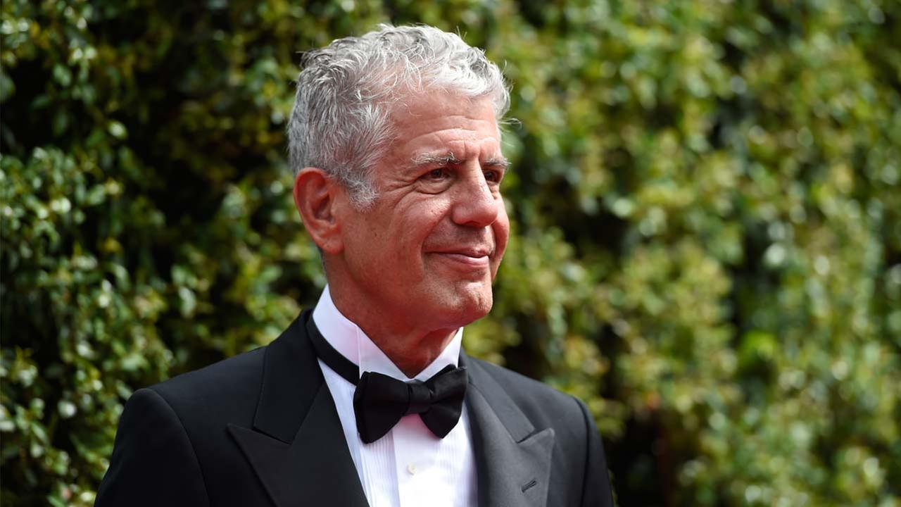 In this Saturday, Sept. 12, 2015 file photo, Anthony Bourdain arrives at the Creative Arts Emmy Awards in Los Angeles.