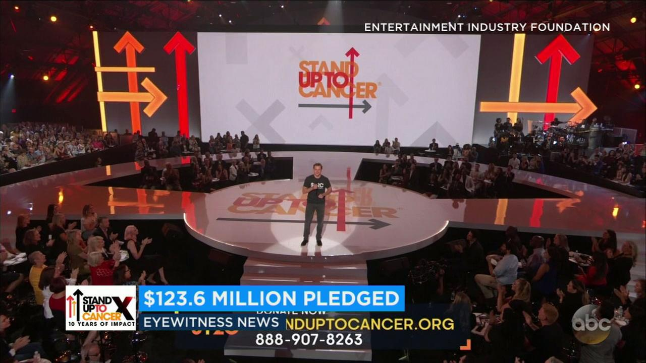 Matt Damon and other celebrities helped Stand Up To Cancer raise a record $123 million this weekend.