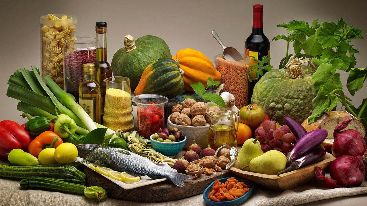The Mediterranean diet consists of eating mostly fruits, vegetables, olive oil, nuts and red wine.