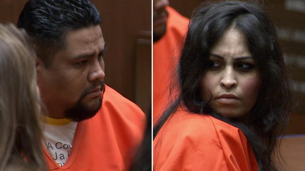 Isauro Aguirre (left) and Pearl Fernandez (right) sit in court on Wednesday, Dec. 3, 2014.