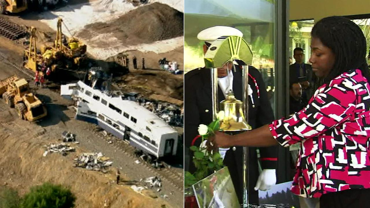 Pictured on the left is an image from a fatal Metrolink train crash 10 years ago. On the right, Tina Mosley pays tribute to her mother, who was a victim in the crash.