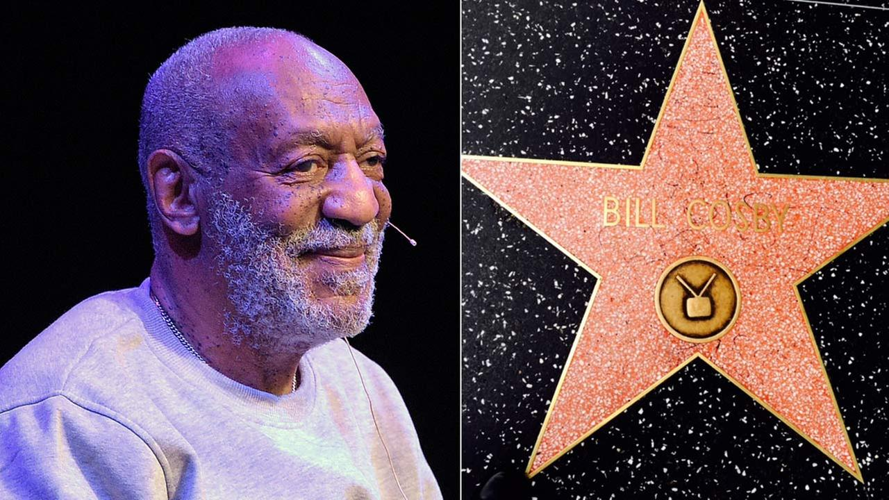 (L) Bill Cosby performs at the Maxwell C. King Center for the Performing Arts in Florida Nov. 21, 2014. (R) Cosbys Hollywood Walk of Fame star was vandalized on Dec. 5, 2014.