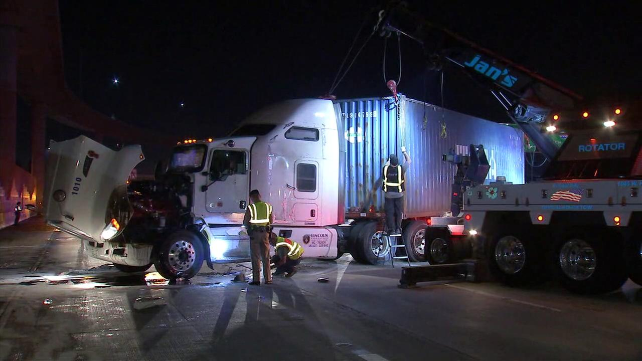 A crash involving an overturned semi-truck left all eastbound lanes except one closed on the 10 Freeway in Baldwin Park.