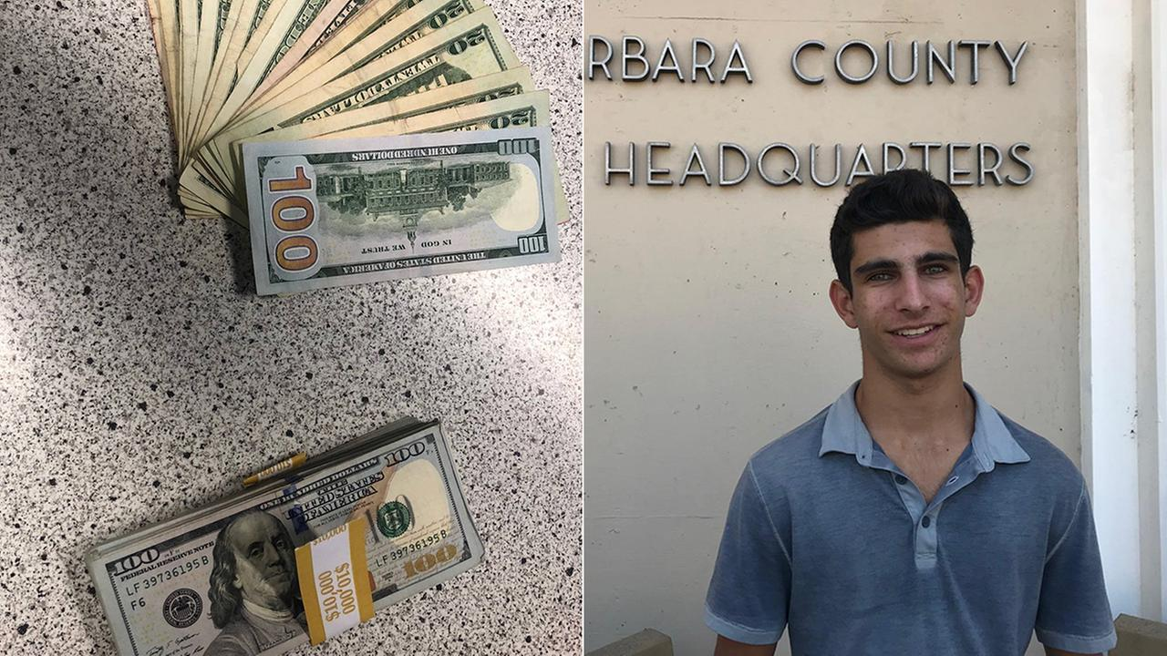 Rhami Zeini, 16, turned $10,000 in to the Santa Barbara County Sheriffs Office after he found a purse filled with the cash on a street.