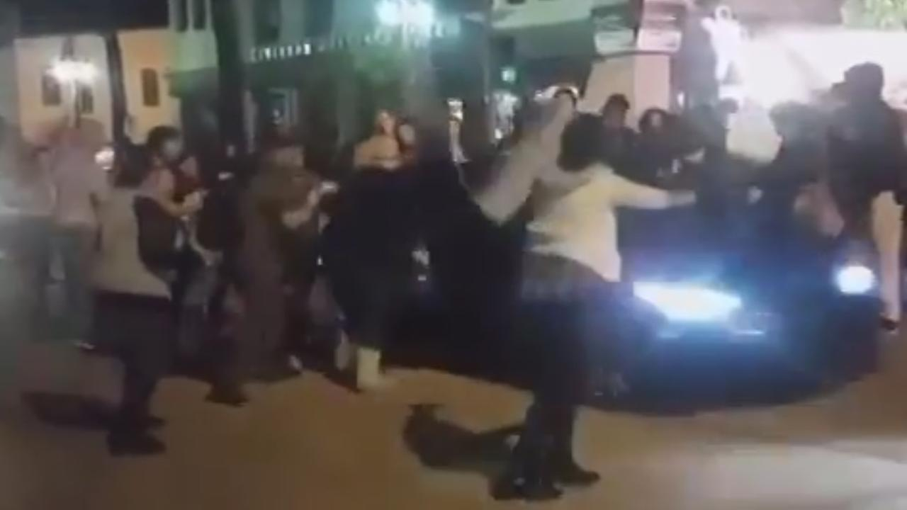 Video captures a hit-and-run during a demonstration in Riverside over police killings across the country.