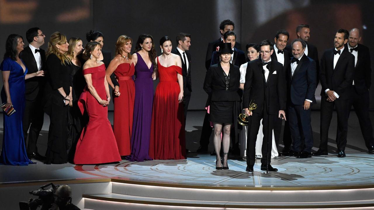 Daniel Palladino and the cast and crew of The Marvelous Mrs. Maisel accept the Emmy for outstanding comedy series on Monday, Sept. 17, 2018, in Los Angeles.