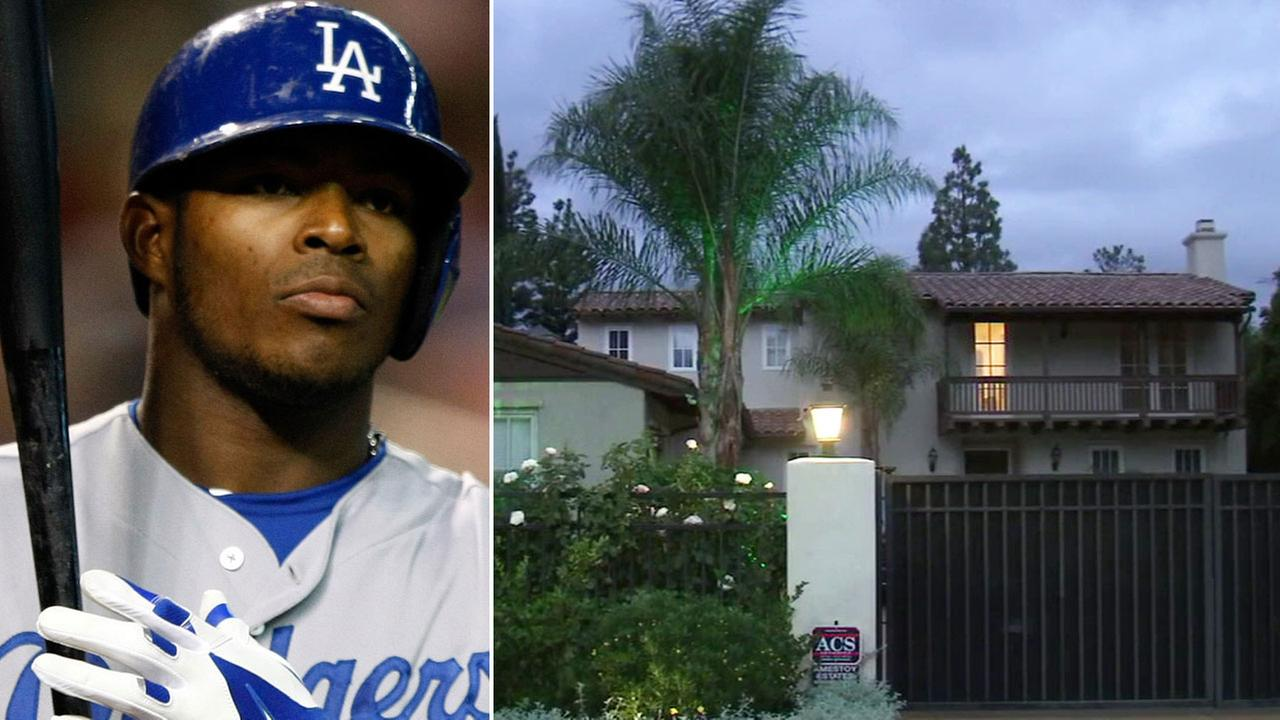 Los Angeles Dodgers Yasiel Puig is seen at a game on Tuesday, Aug. 26, 2014, alongside a photo of his Encino home.