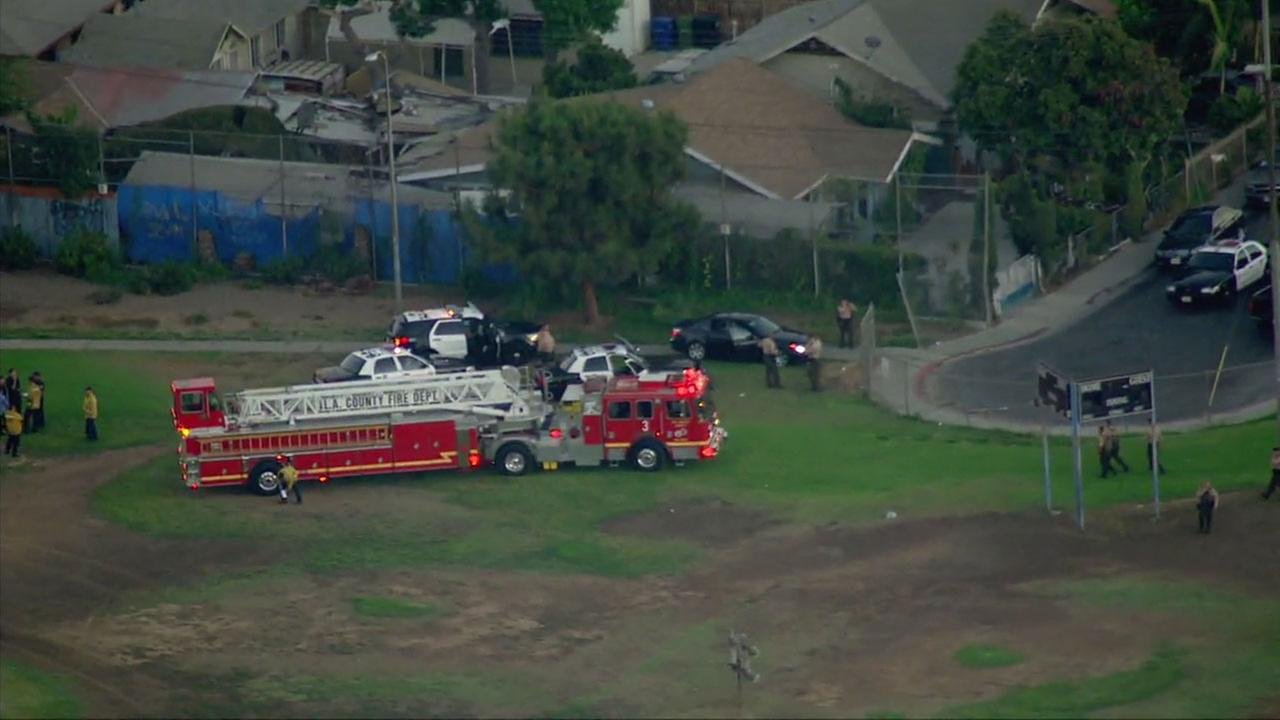 Authorities surrounded Salazar Park after two deputies were injured in a deputy-involved shooting.