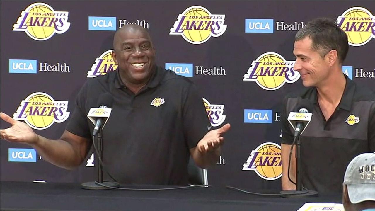Lakers president of basketball operations Magic Johnson and GM Rob Pelinka talk about training camp and the upcoming season with LeBron James.