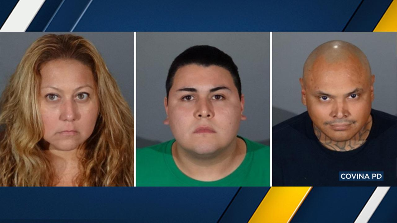 In connection with a Covina bar assault, police arrested (from left): Elizabeth Franco, 40, of Baldwin Park; Angel Franco, 23, of Baldwin Park; and Vidal Larios, 40, of Glendale.