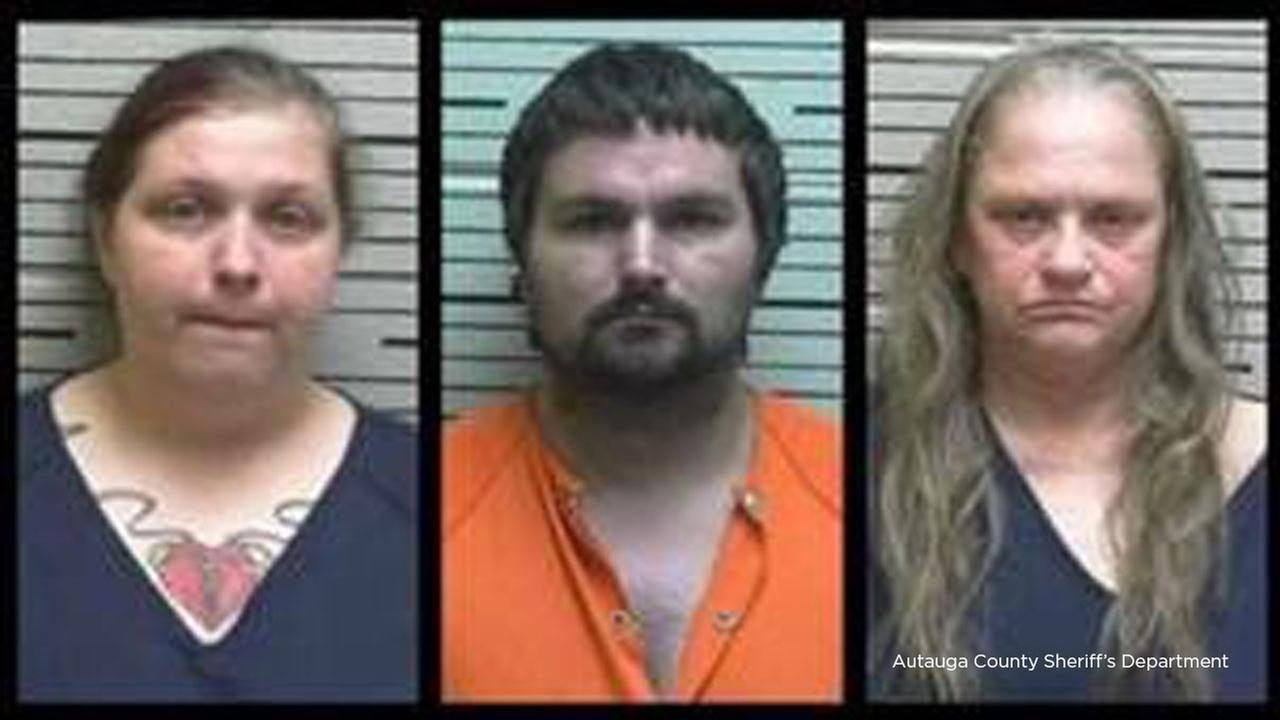 Mugshots of three family members arrested on child abuse charges after a 13-year-old boy was found naked and chained at an Alabama home on Thursday, Sept. 20, 2018.