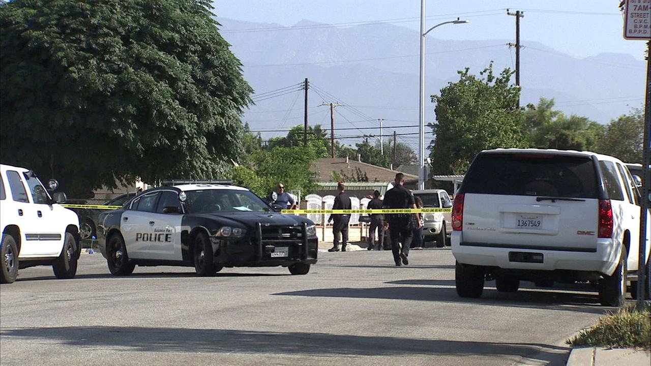 Authorities cordoned off an area in Baldwin Park after four people were wounded in a shooting at a house party early Sunday morning.