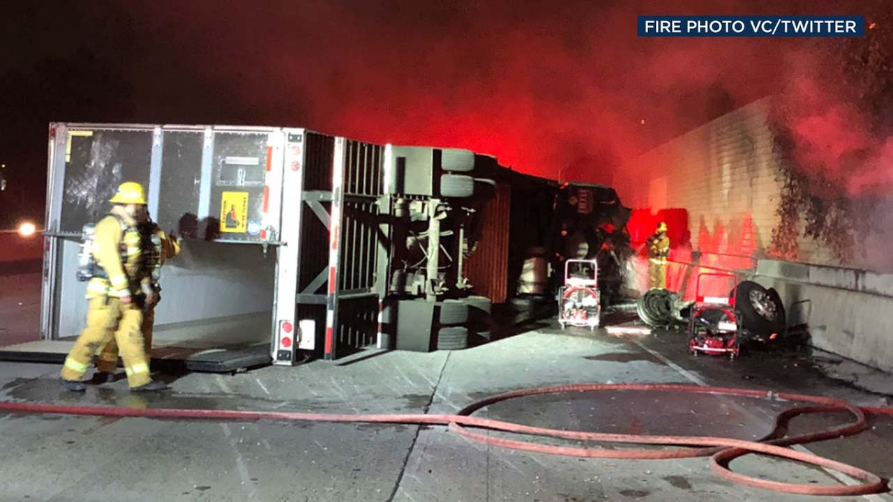 Firefighters are seen in Camarillo, where tractor-trailer was involved in a crash on the 101 Freeway on Tuesday, Sept. 25, 2018.