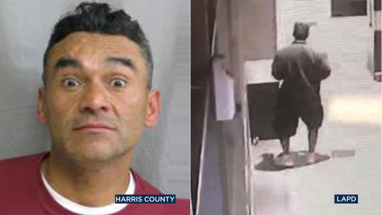 Ramon Escobar, shown in a 2018 mugshot from Harris County, Texas, has been identified as the suspect wanted in connection with the fatal beatings of two homeless men in LA.