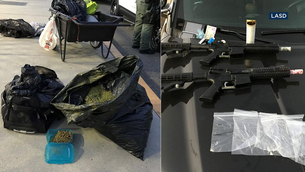 Sheriffs deputies seized marijuana and two airsoft rifles from a man pushing a cart through the Slauson Metro Blue Line station.