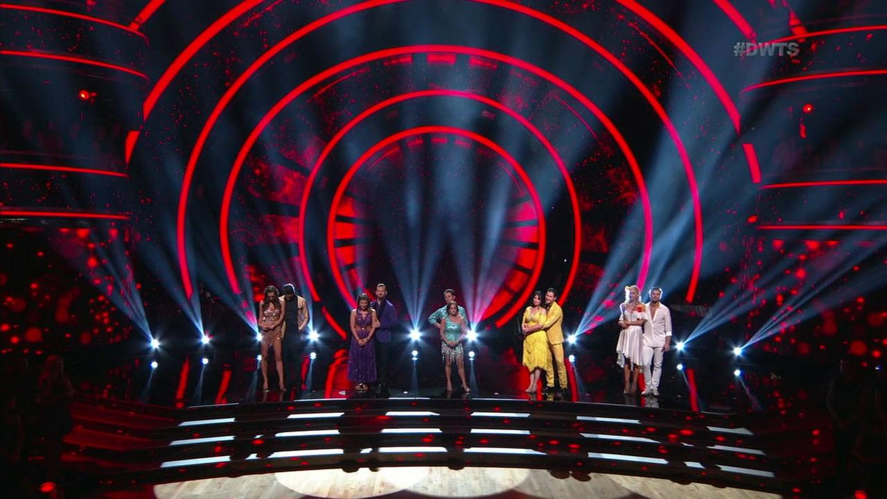 A photo shows the moment of elimination during the first week of Dancing with the Stars Season 27.