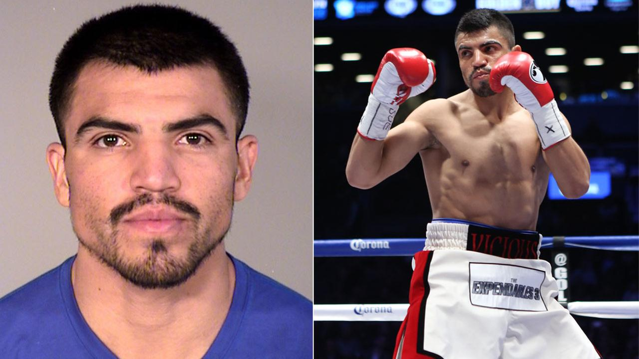 Victor Ortiz, arrested for forcible rape in Oxnard on Tuesday, Sept. 25, 2018. He is seen during the WBA international welterweight title fight on Thursday, Jan. 30, 2014 (right).