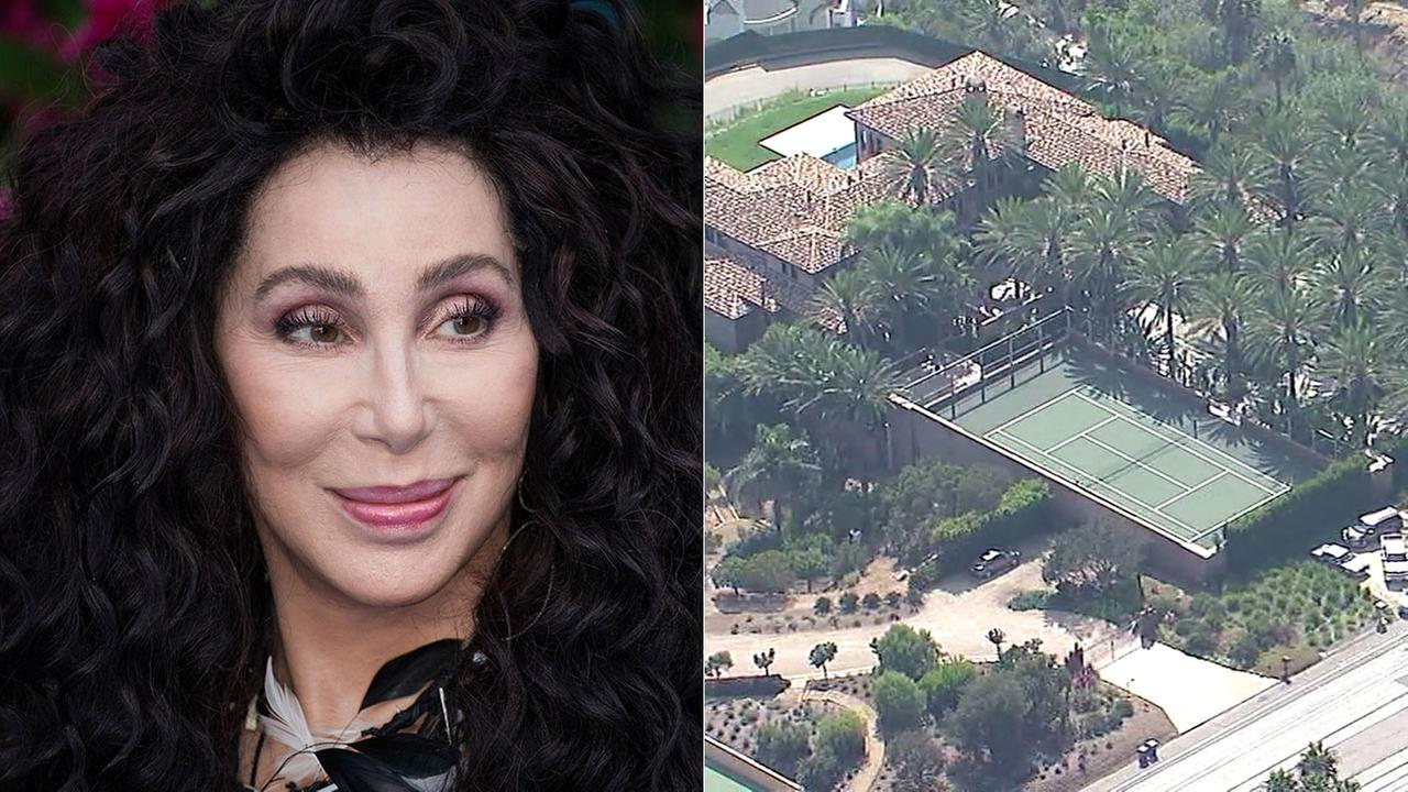 Left: Cher, pictured at a London film premiere on July 16, 2018; Right: Chers home in Malibu on PCH.