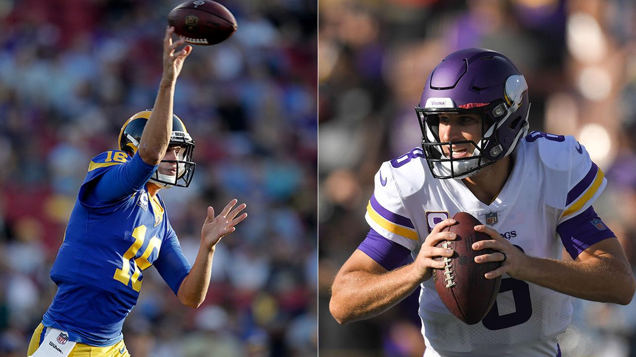 Rams quarterback Jared Goff (left) and Vikings QB Kirk Cousins both threw for more than 400 yards in the LA-Minnesota game at the Coliseum.