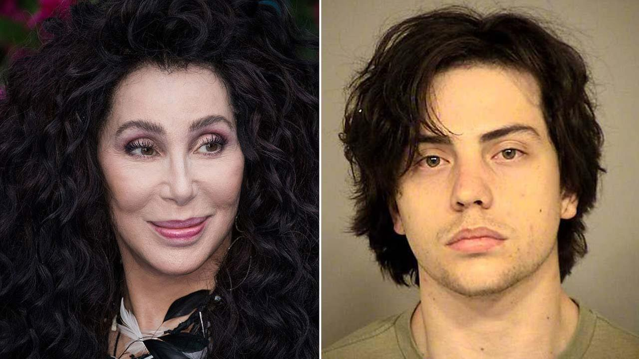 Left: AP photo of Cher at a London film premiere on July 16, 2018; Right: Booking photo of Donovan Ruiz.