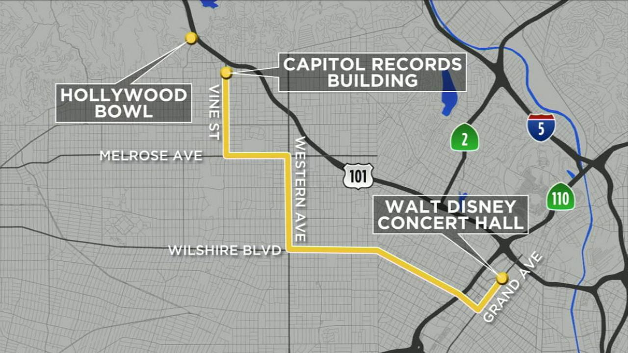The Los Angeles Philharmonics 100 year celebration Sunday will close certain roads to cars.
