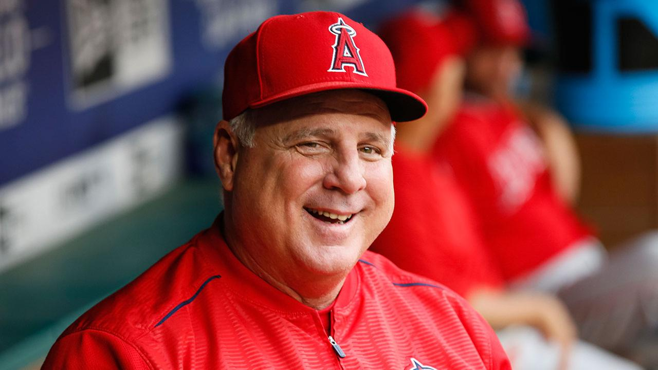 Angels manager Mike Scioscia in the dugout during a game against the Texas Rangers on Sept. 5, 2018 in Arlington, Texas.
