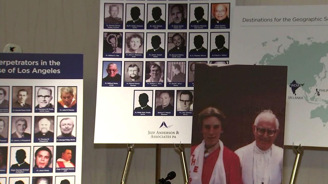 Photos show multiple clergy members from the Catholic church in California that are accused of sexual abuse. One of those accused is seen standing alongside victim Thomas Emens.