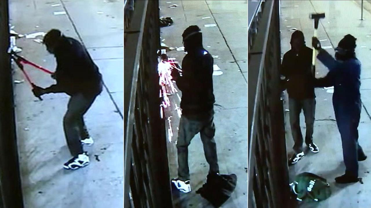 Surveillance video shows a smash-and-grab crew using bolt cutters, a power saw and then a sledgehammer to break through the gate at a clothing store in West Hollywood.