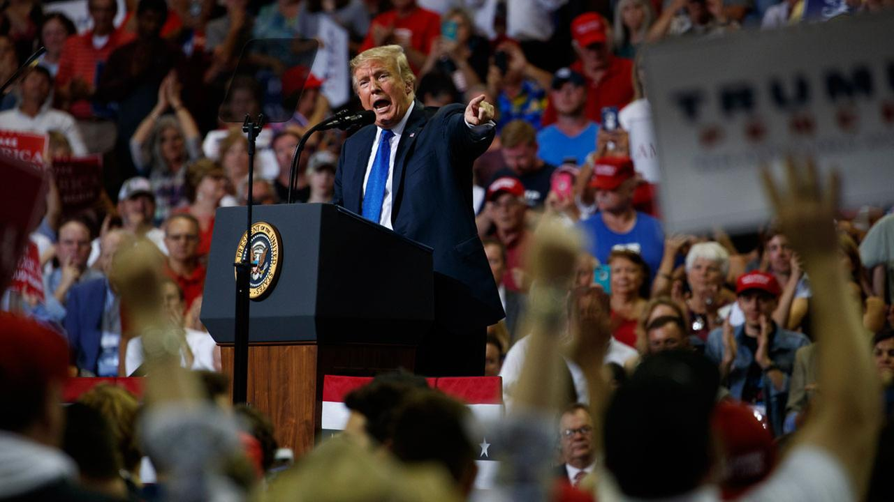 President Donald Trump speaks during a campaign rally at the Landers Center Arena, Tuesday, Oct. 2, 2018, in Southaven, Miss.