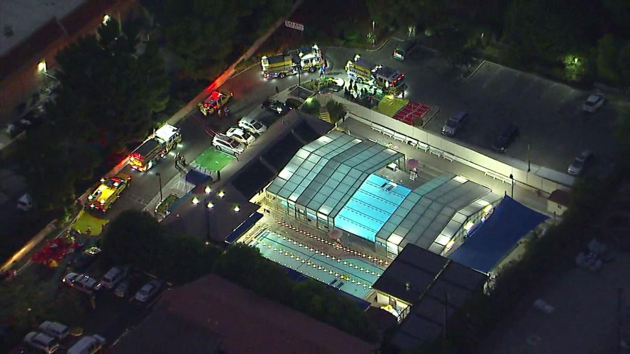 Twelve people were sent to the hospital after being exposed to a pool chemical at a Thousand Oaks swim club on Wednesday evening, officials said.