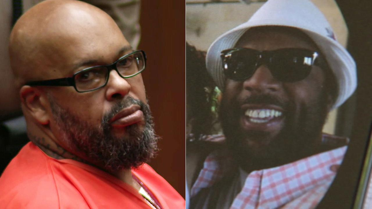 Former rap mogul Marion Suge Knight (left) was convicted of killing 55-year-old Terry Carter (right) with his truck in Compton in 2015.