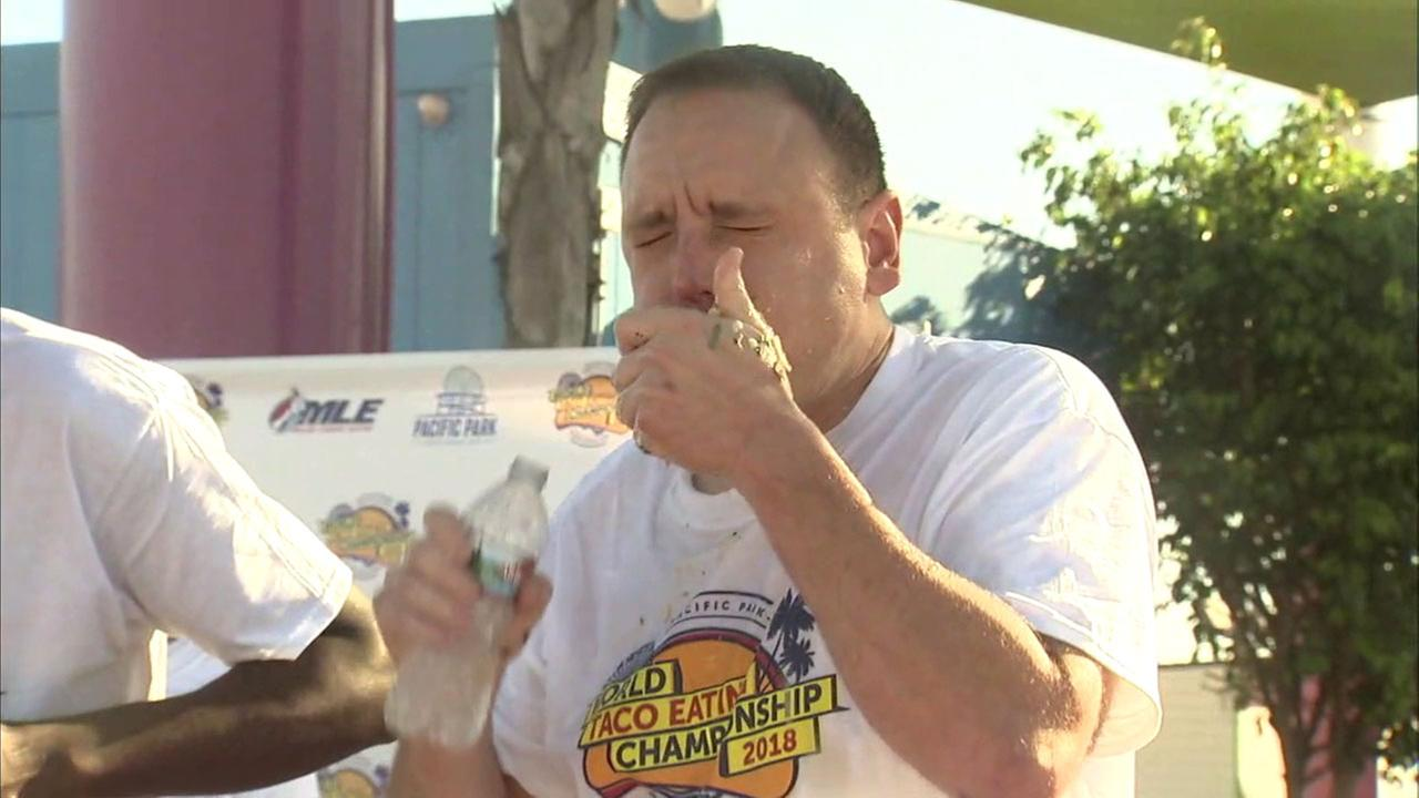 Joey Jaws Chestnut downed 62 carnitas tacos in eight minutes to win the inaugural Pacific Park World Taco-Eating Championship in Santa Monica on Thursday.
