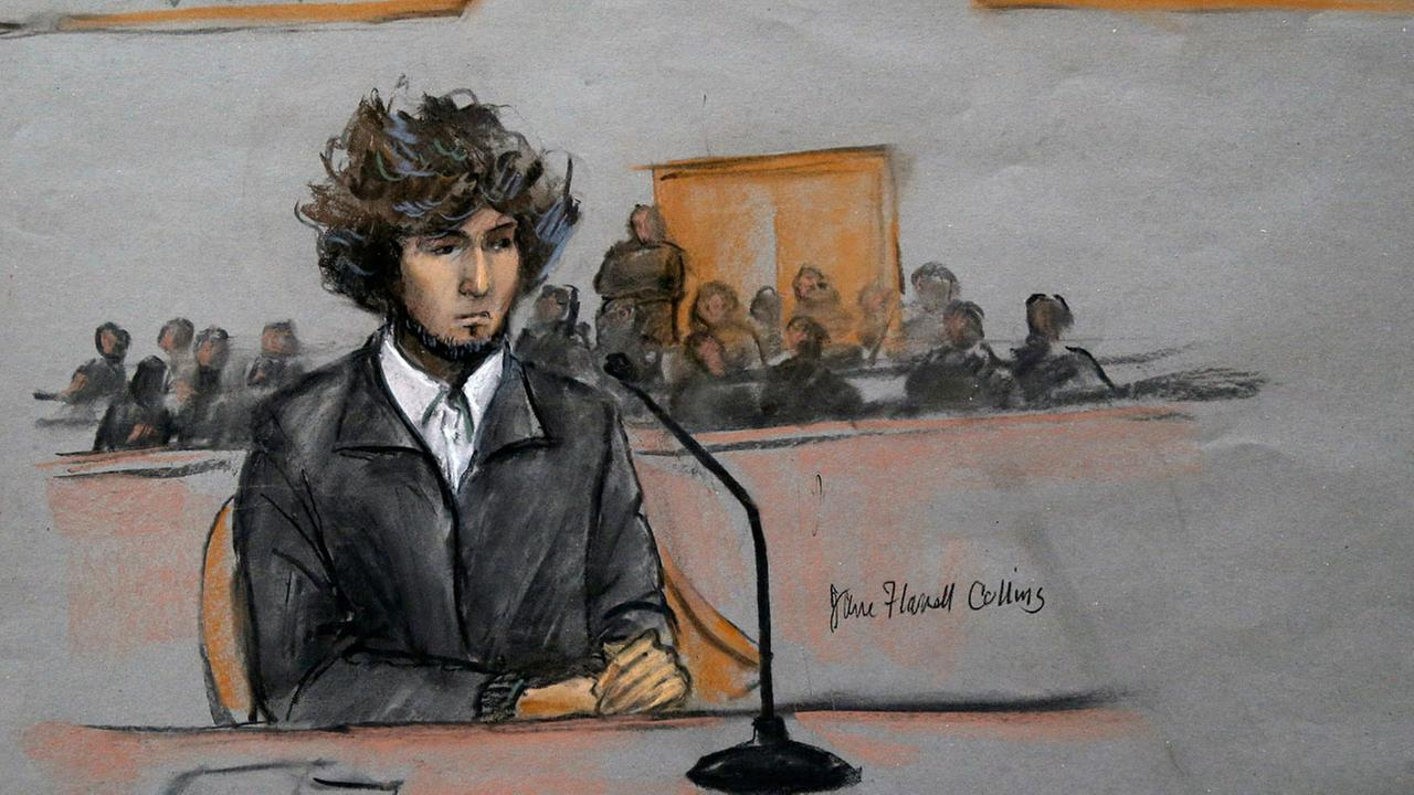 In this courtroom sketch, Boston Marathon bombing suspect Dzhokhar Tsarnaev is depicted sitting in federal court in Boston Thursday, Dec. 18, 2014.