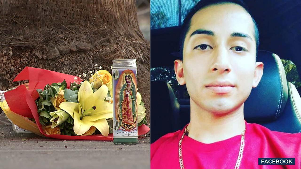 (Left) A candle and flowers are seen at parking lot K outside the Rose Bowl. (Right) A file photo of Demetrio Tapia.