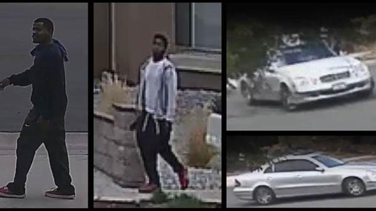 Corona police released these images from a neighbors surveillance video after two suspects assaulted a homeowner and stole from her.