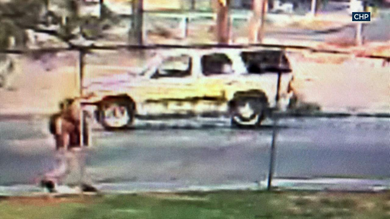 Surveillance video shows a tan SUV that authorities say ran over 14-year-old Jade Maldonado as she was walking to school in San Bernardino Sept. 28.