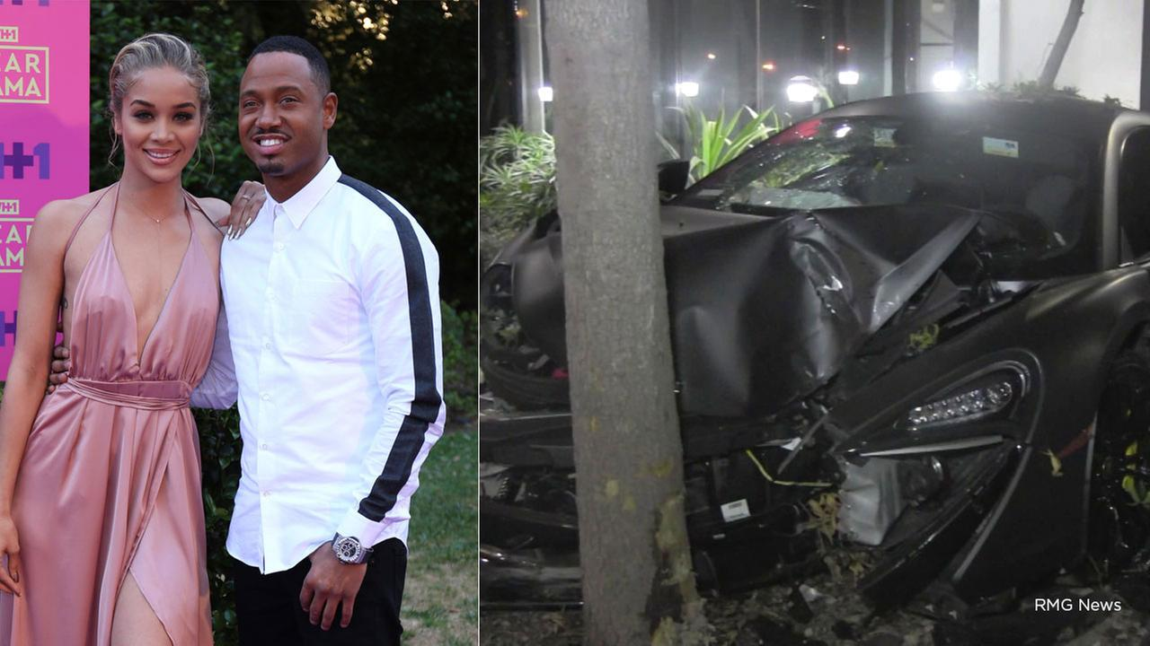 Jasmine Sanders, Terrence J at the Dear Mama: An Event To Honor Moms on May 6, 2017. A McLaren vehicle is mangled after a crash believed to have involved the two in Studio City.