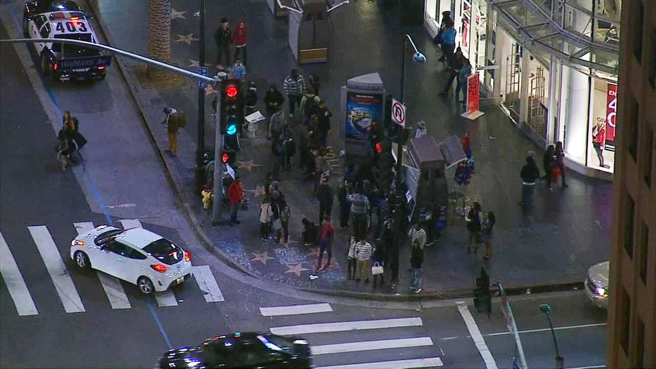 Police arrested at least five people during a protest at Hollywood and Highland on charges of resisting arrest or battery on a police officer on Friday, Dec. 19, 2014.