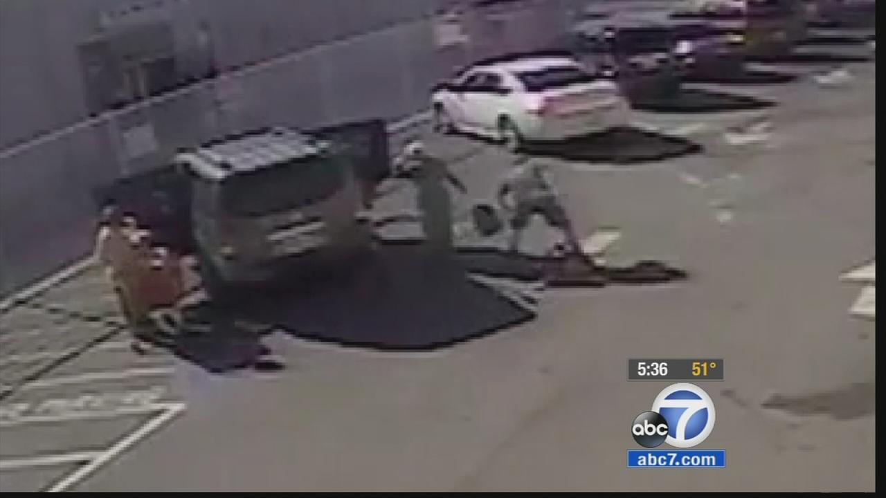 Surveillance footage shows a robbery suspect taking a purse belonging to the 94-year-old grandmother of L.A. City Councilman Joe Buscaino on Nov. 29, 2014.