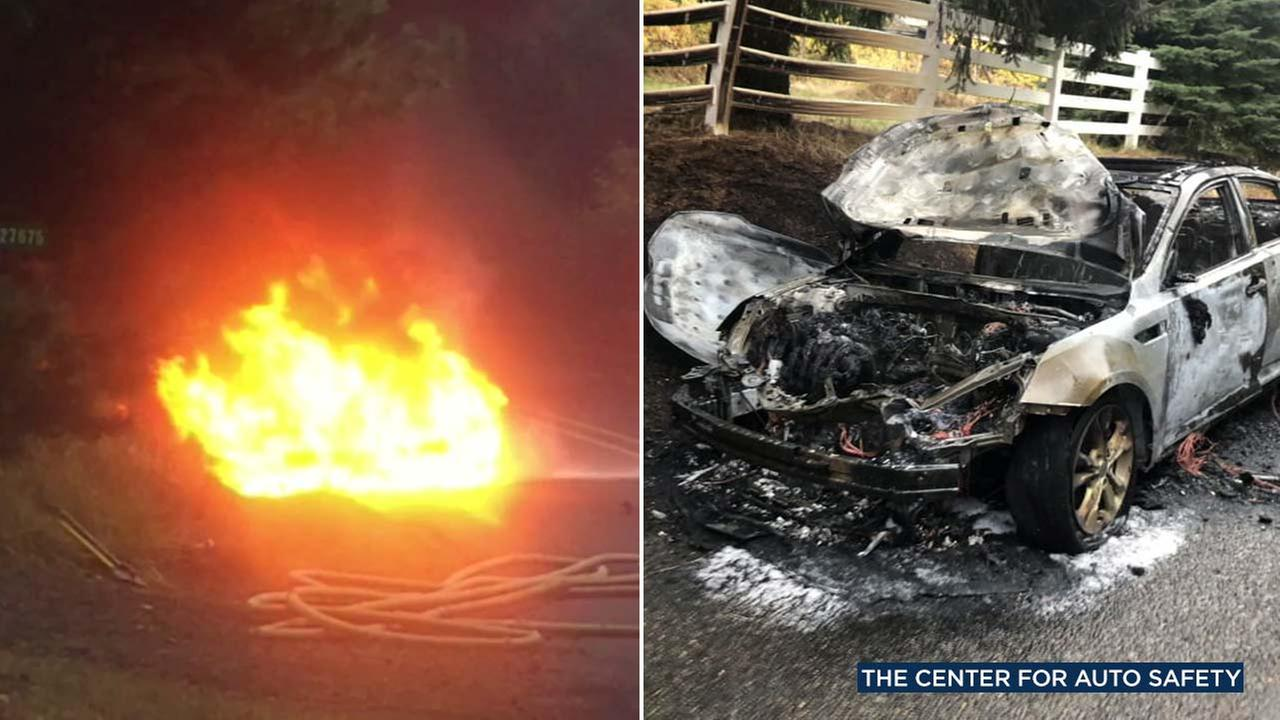 The Center For Auto Safety released these images as the organization demanded the recall of 2.9 million Hyundai and Kia vehicles amid consumer complaints that they can catch fire.