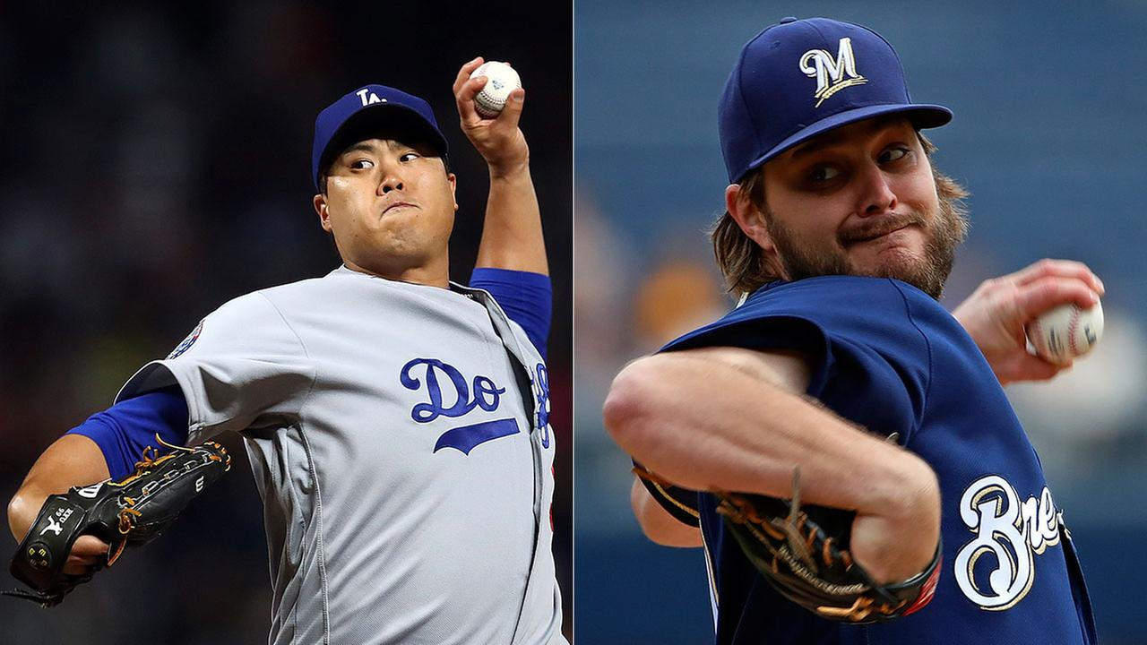 Game 2 of the National League Championship will open as a battle of left-handers with Hyun-Jin Ryu starting for the Dodgers and Wade Miley for the Brewers.