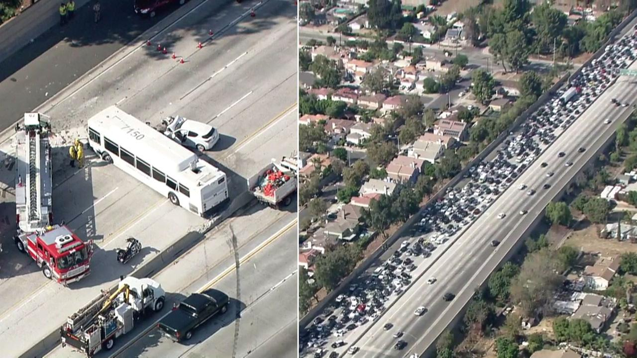Traffic is seen backed up for miles after a bus crashed through the center divider on the 405 Freeway in the North Hills area, injuring dozens on Sunday, Oct. 14, 2018.