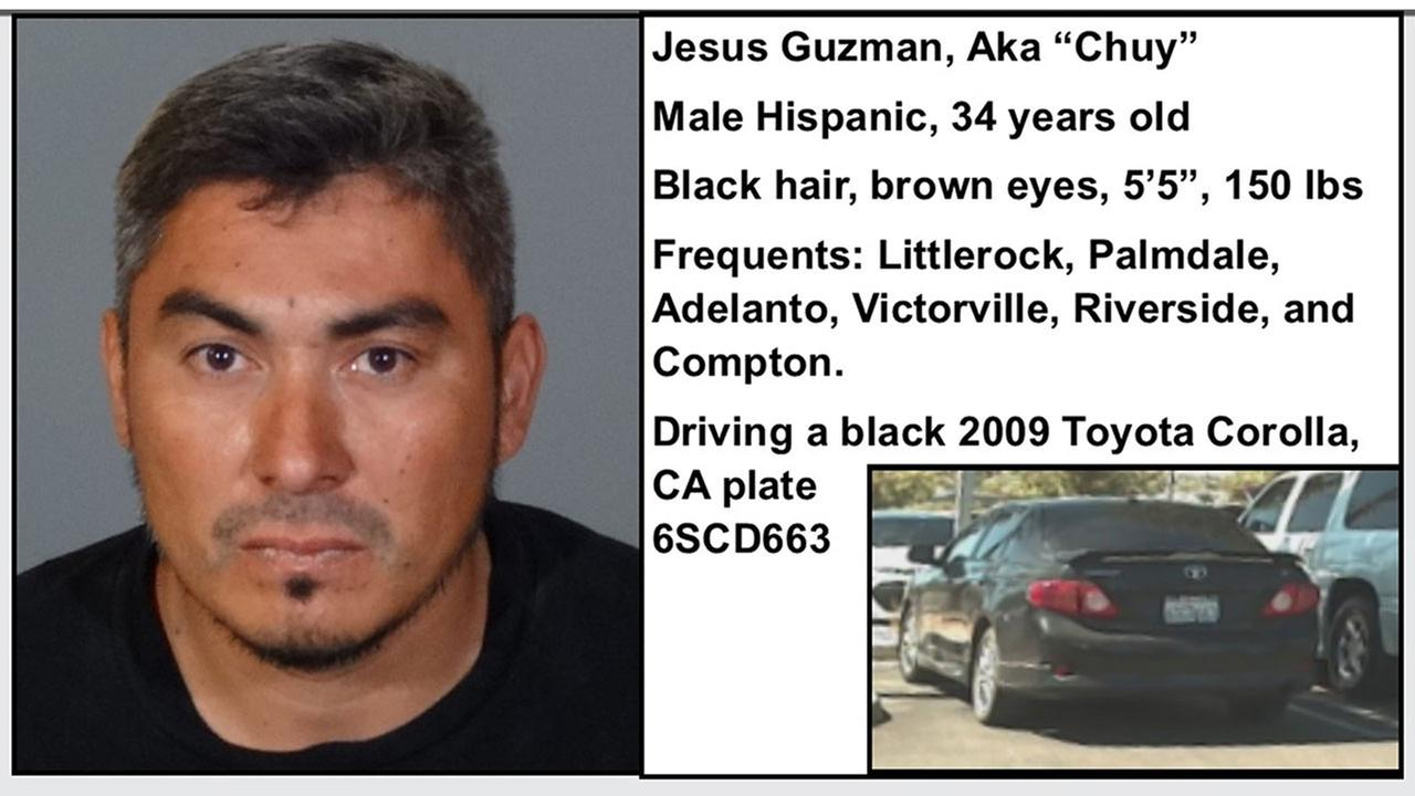 A Los Angeles County Sheriffs Department flyer calls Jesus Chuy Guzman a person of interest in the discovery of human remains at a home in Littlerock, Calif.