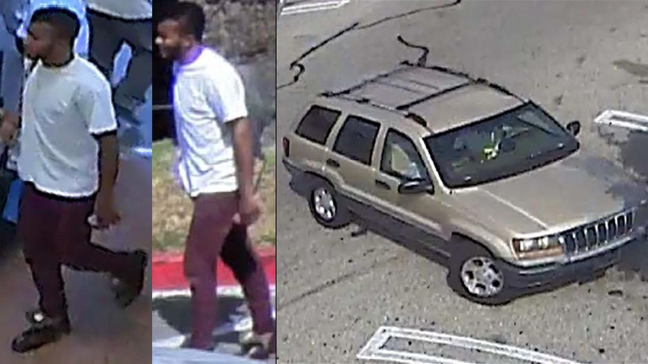 Surveillance photos show a person of interest and his vehicle authorities are looking for after an infant was found abandoned in a Lakewood Walmart bathroom.