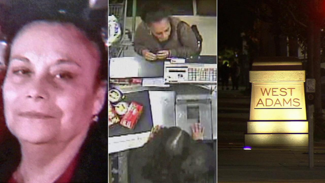 Maria Elena Rivas, 62, is is seen in an undated photo (left), and at a Ralphs Monday, Dec. 22, 2014. She was fatally stabbed as she walked in West Adams (right).