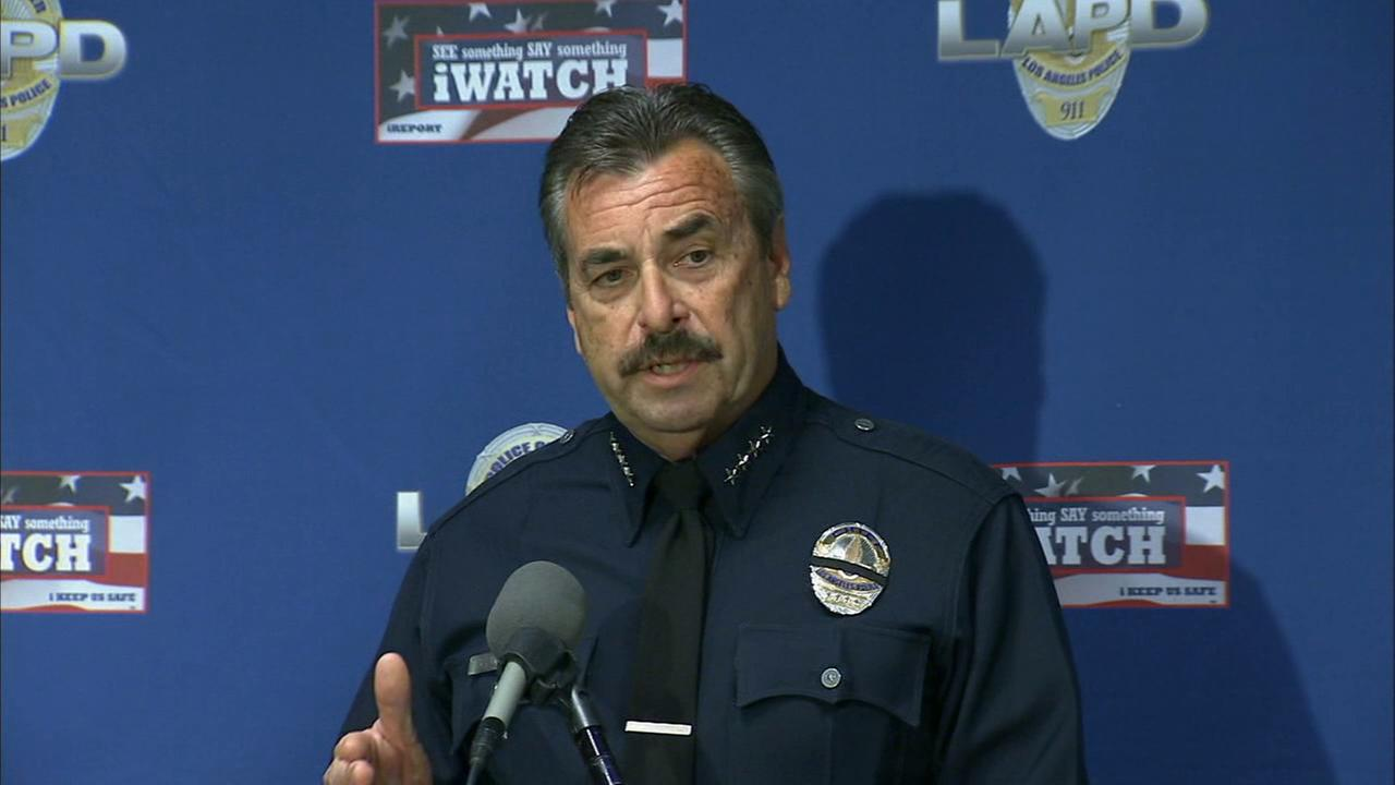 LAPD Chief Charlie Beck speaks during a news conference regarding the autopsy on Ezell Ford on Monday, Dec. 29, 2014.