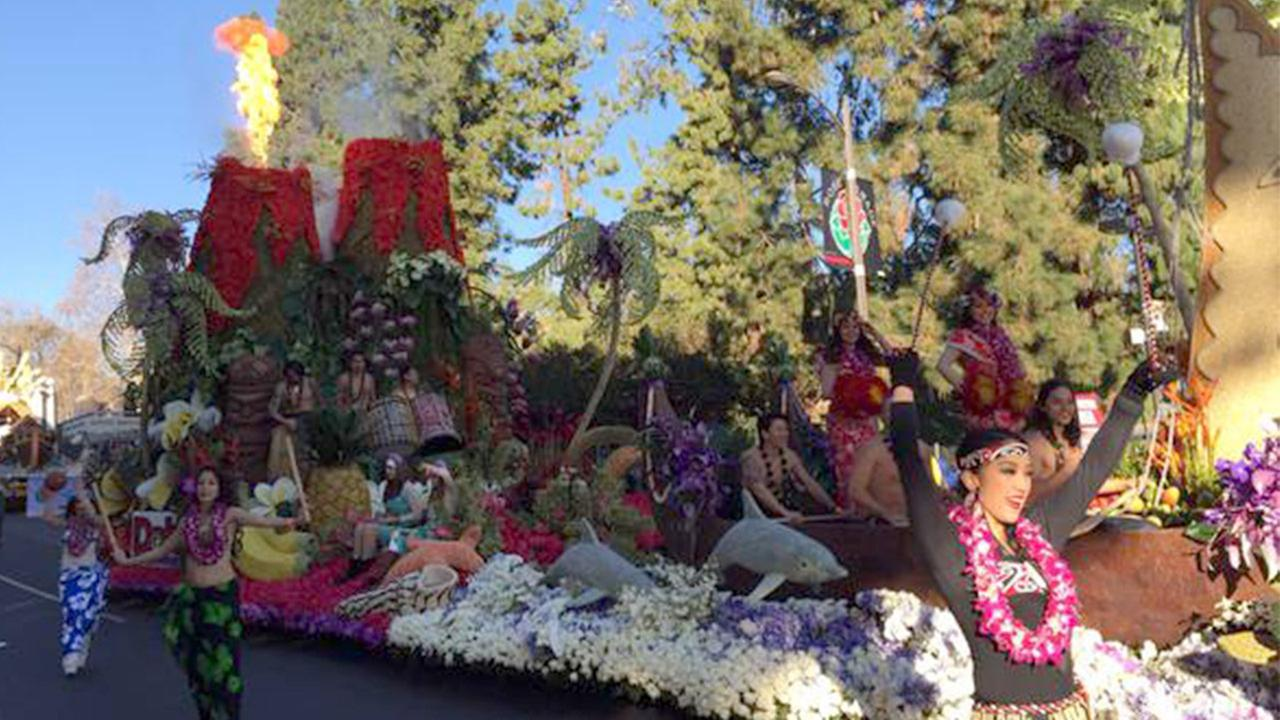 The Dole Packaged Foods float, themed Rhythm of Hawaii, won most beautiful entry in parade with outstanding floral presentation and design.