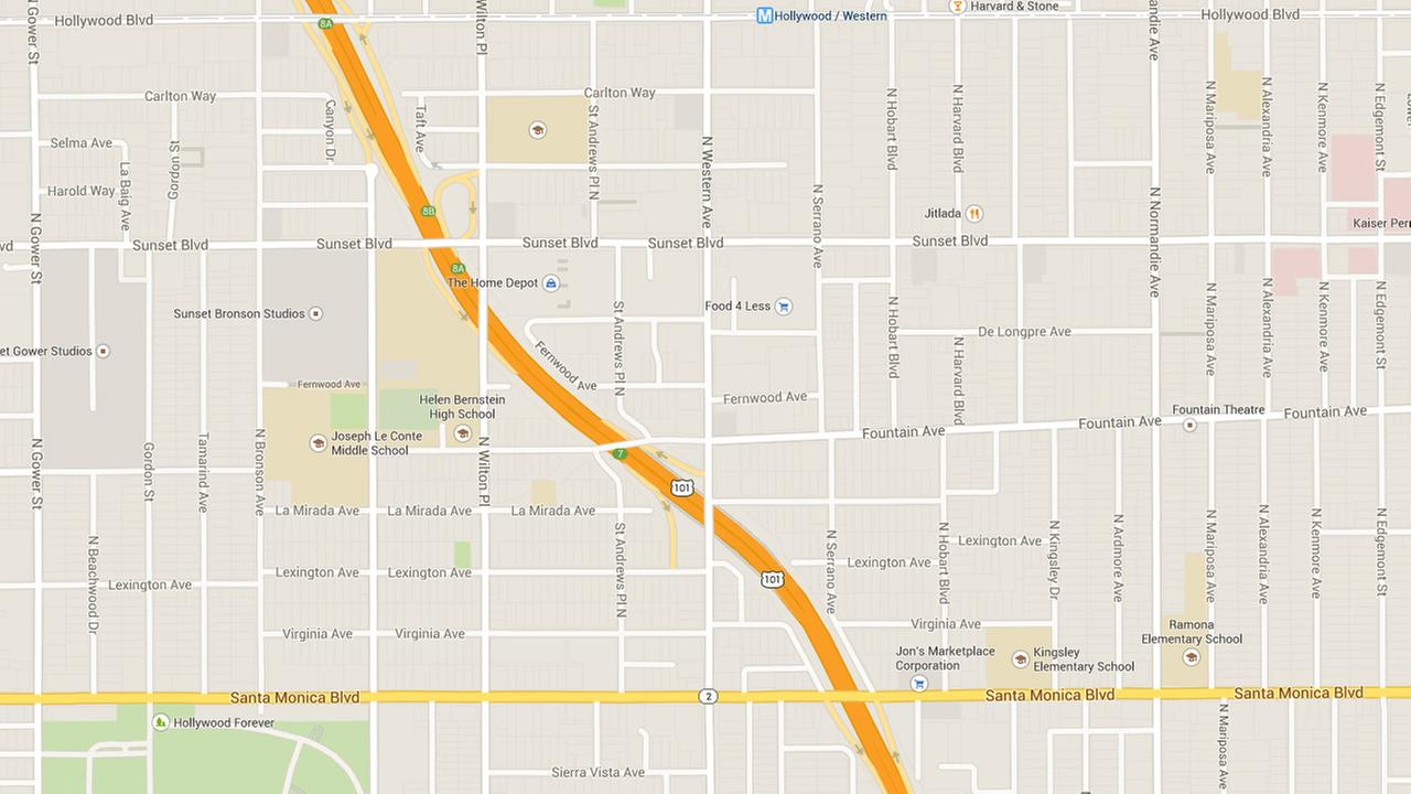 This Google Maps image shows the general area where a water-main pipe burst in East Hollywood on Thursday, Jan. 1, 2014.