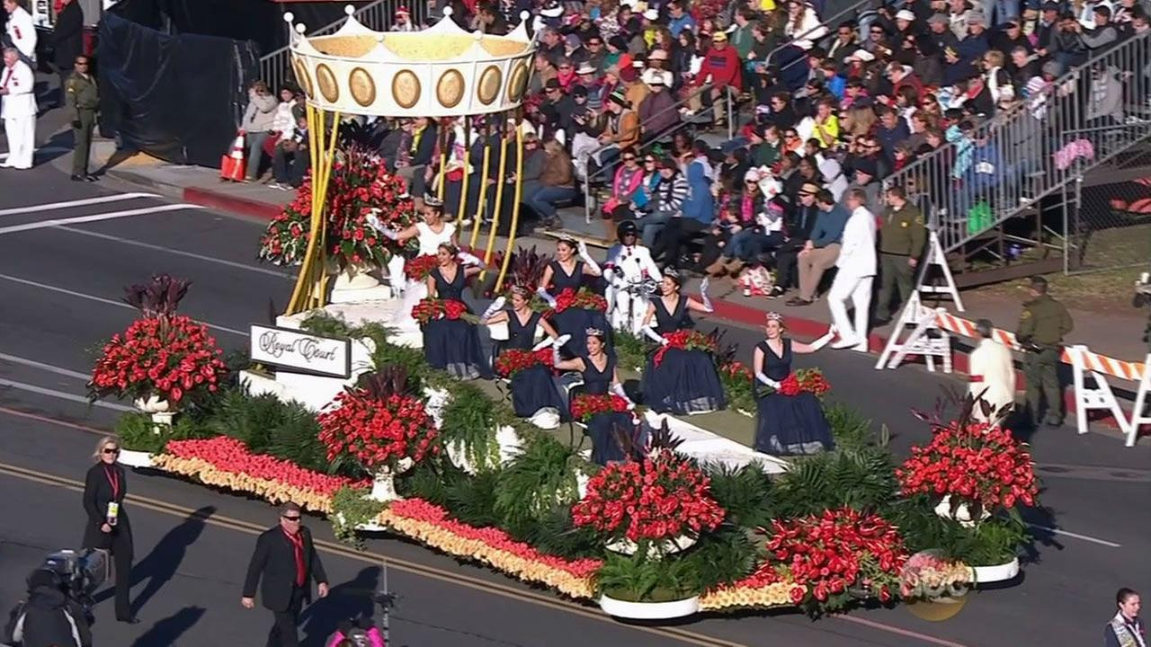 The 2015 Rose Parade Court waves to the crowds on New Years Day.