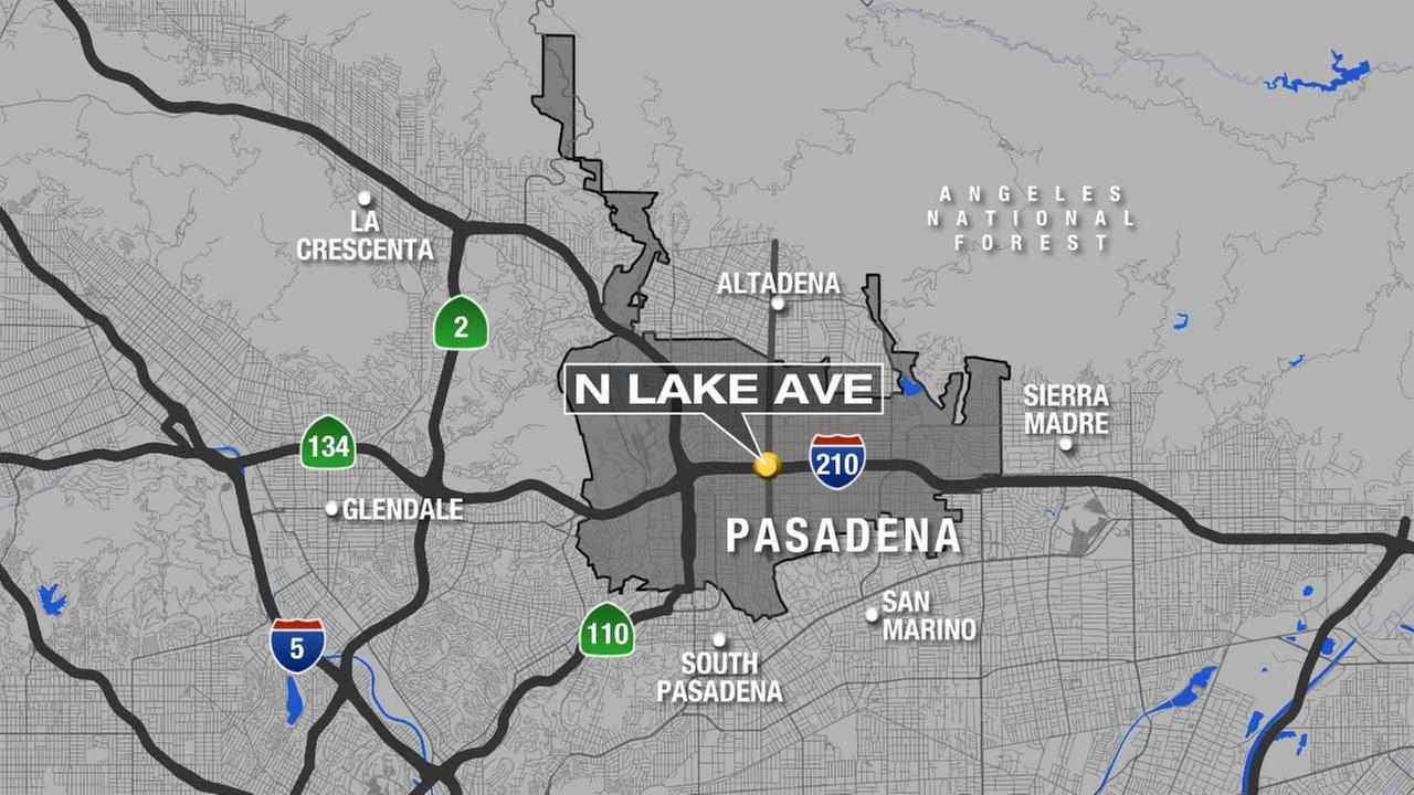 A map shows the Lake Avenue exit on the 210 Freeway in Pasadena.